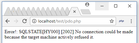 PHP PDO HOST Connection Error