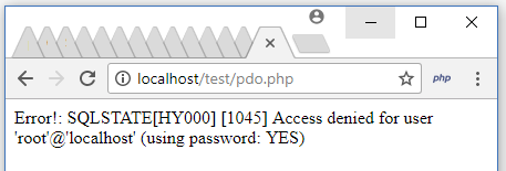 PHP PDO Username and Password Error