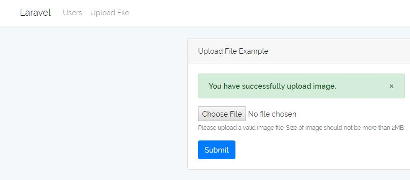 Laravel File Upload Success Message
