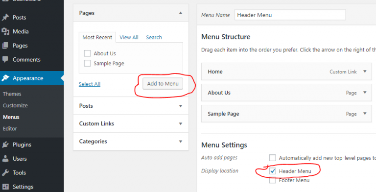 Add New Menu in WordPress