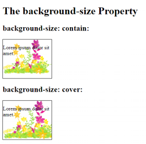 Background Image Size with Contain and Cover