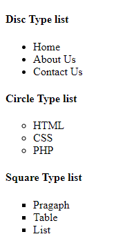 HTML Un-order List Example