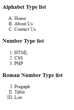 html order list example