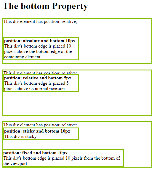 CSS Bottom Property