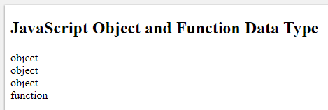 JavaScript Object and Function Data Type