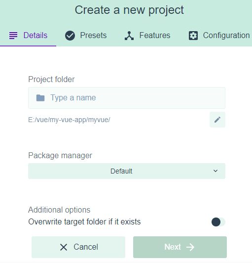 Create Project Form in Vue Graphical User Interface