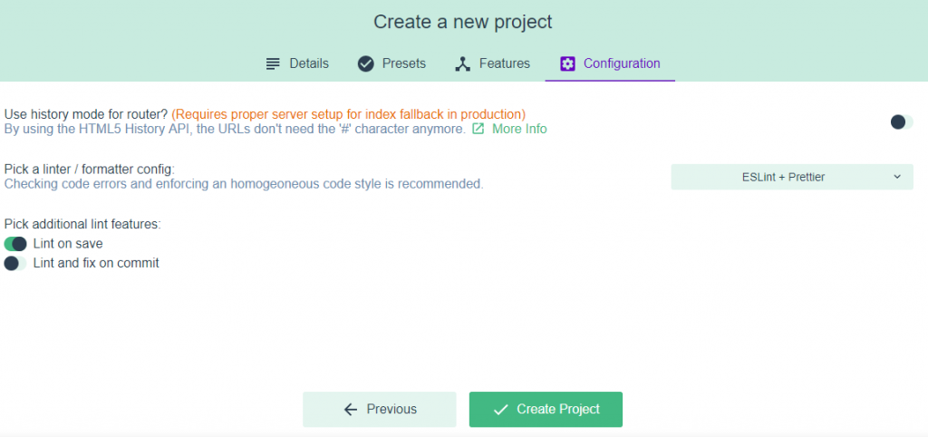 Project Creation Final Step in VueJS UI