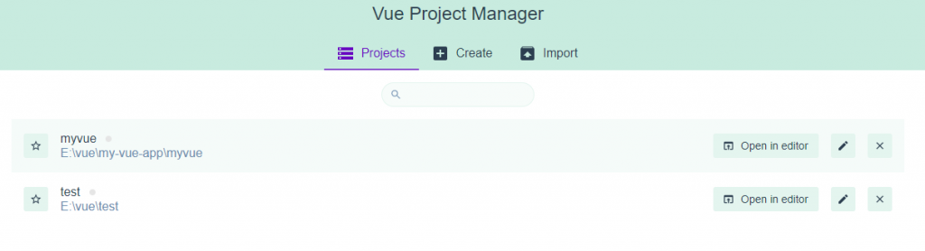 VueJS Project List in Project Manager