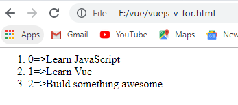 vuejs v-for with of keyword