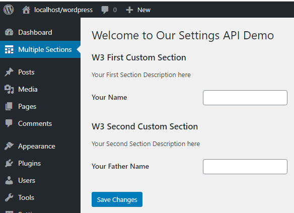 Create Multiple Sections in WordPress Settings Page
