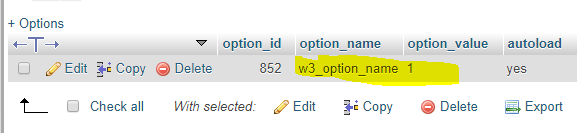 Save Settings in WordPress wp_options table