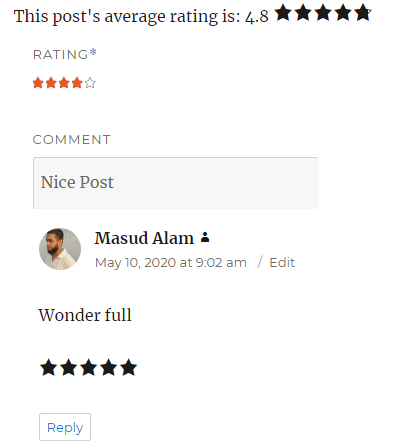 word press comment rating