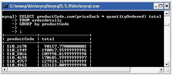 mysql sum function with group by