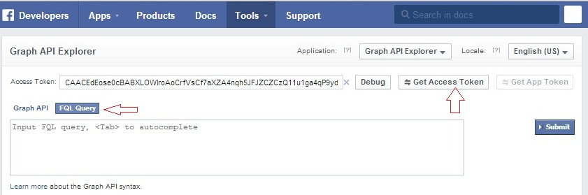Testing FQL queries using the Graph API Explorer