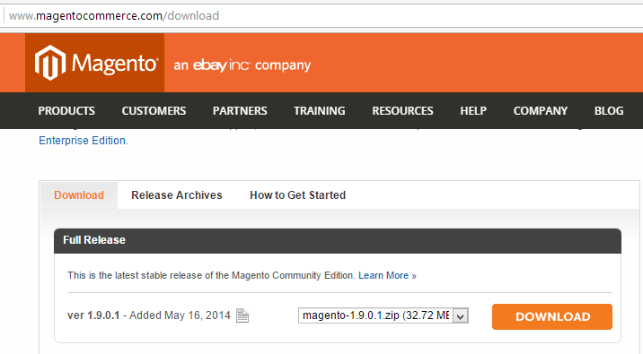 Magento Full Release Download Option